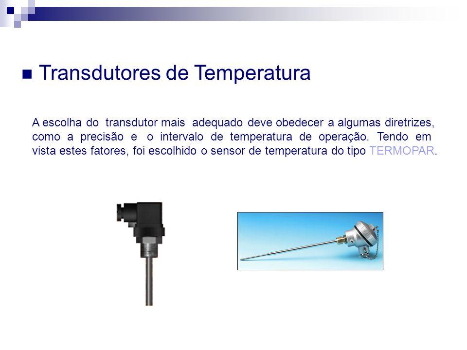 Transdutores de Temperatura A escolha do transdutor mais adequado deve obedecer a algumas diretrizes, como a precisão e o intervalo de temperatura de