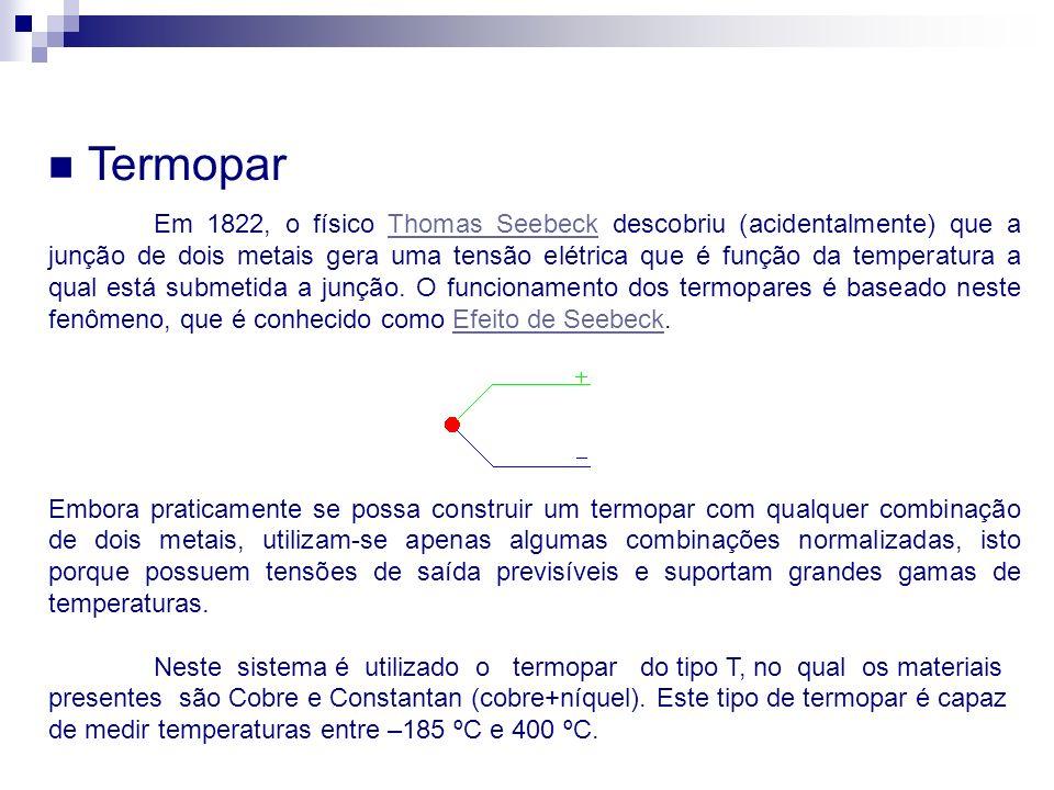 Termopar TiposIntervalo de Temperatura (°C) Voltagem de Saída (mV) E0 à 9800 à 75,12 J-185 à 870-7,52 à 50,05 K-185 à 1260-5,51 à 51,05 T-185 à 400-5,28 à 20,80 TiposMaterial Positivo Material Negativo ECromoConstantan JFerroConstantan KCromoAlumínio TCobreConstantan