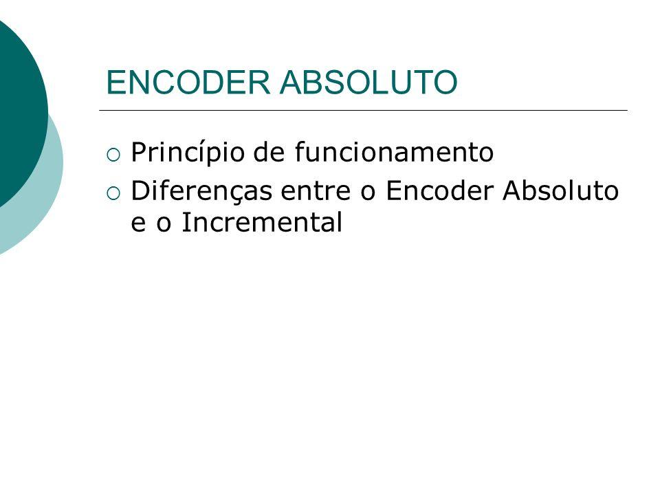 ENCODER ABSOLUTO Princípio de funcionamento Diferenças entre o Encoder Absoluto e o Incremental