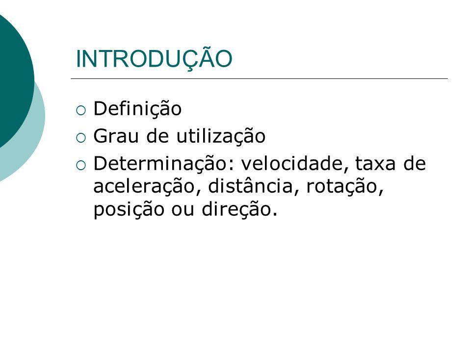 INTRODUÇÃO Definição Grau de utilização Determinação: velocidade, taxa de aceleração, distância, rotação, posição ou direção.