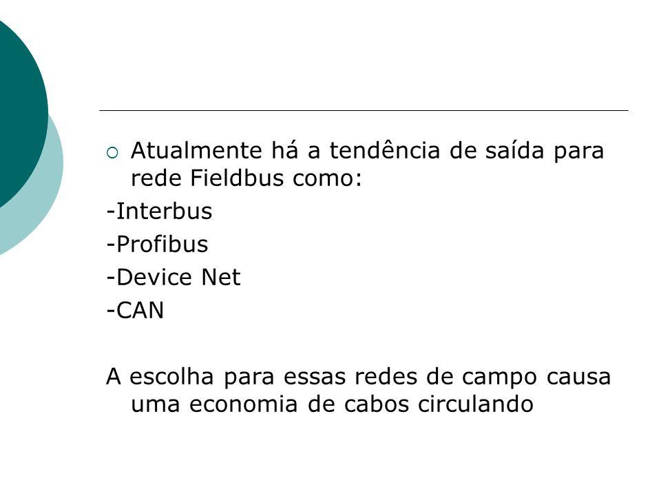 Atualmente há a tendência de saída para rede Fieldbus como: -Interbus -Profibus -Device Net -CAN A escolha para essas redes de campo causa uma economi