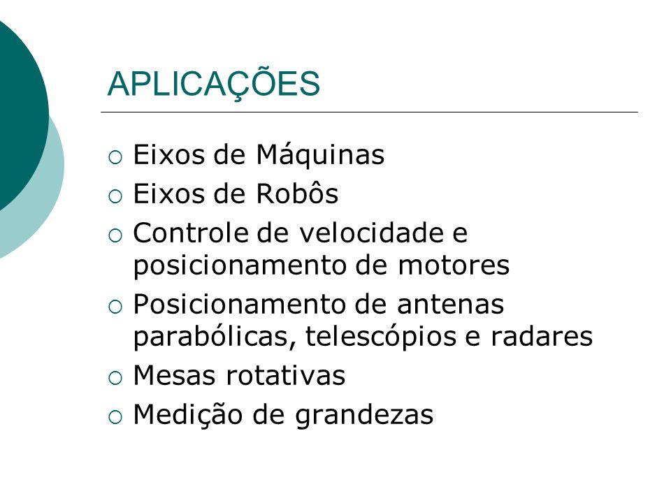 APLICAÇÕES Eixos de Máquinas Eixos de Robôs Controle de velocidade e posicionamento de motores Posicionamento de antenas parabólicas, telescópios e ra