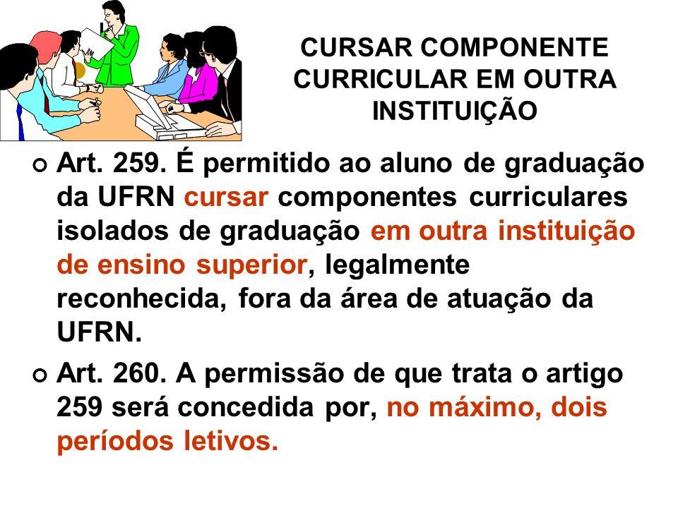 CURSAR COMPONENTE CURRICULAR EM OUTRA INSTITUIÇÃO Art.