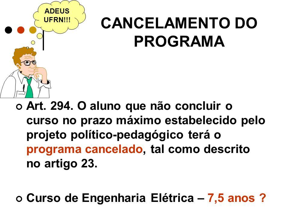 CANCELAMENTO DO PROGRAMA Art.294.