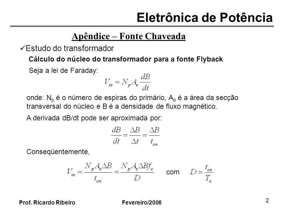 Eletrônica de Potência Fevereiro/2006Prof. Ricardo Ribeiro 2 Apêndice – Fonte Chaveada Estudo do transformador Cálculo do núcleo do transformador para