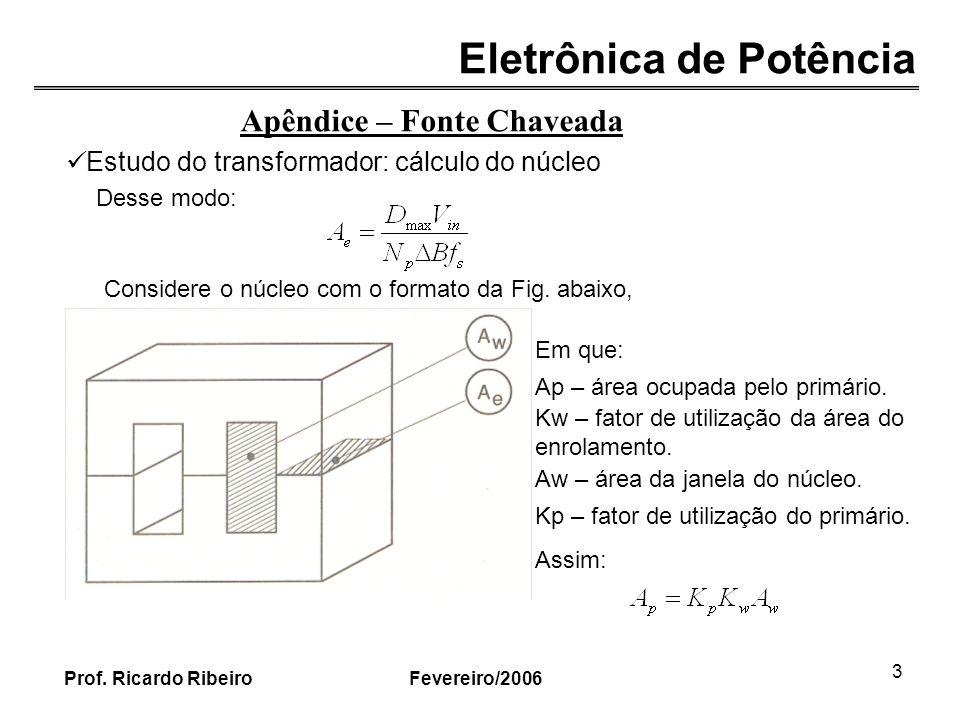 Eletrônica de Potência Fevereiro/2006Prof. Ricardo Ribeiro 3 Desse modo: Estudo do transformador: cálculo do núcleo Apêndice – Fonte Chaveada Consider