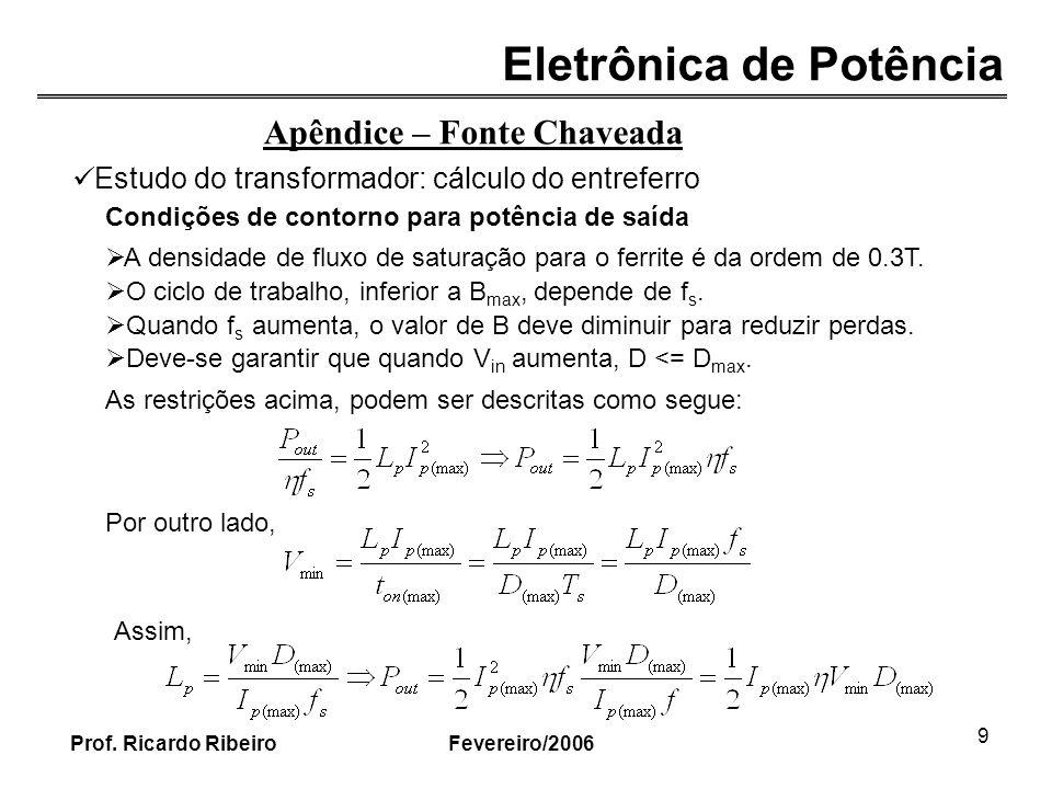 Eletrônica de Potência Fevereiro/2006Prof. Ricardo Ribeiro 9 Apêndice – Fonte Chaveada Estudo do transformador: cálculo do entreferro Condições de con