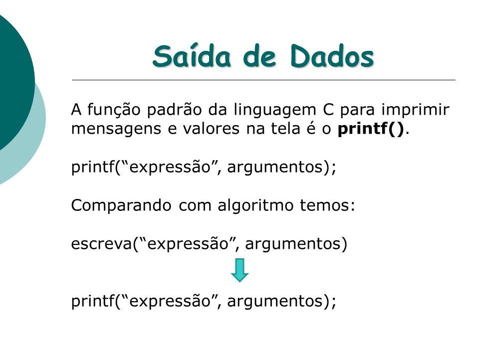 Saída de Dados A função padrão da linguagem C para imprimir mensagens e valores na tela é o printf(). printf(expressão, argumentos); Comparando com al