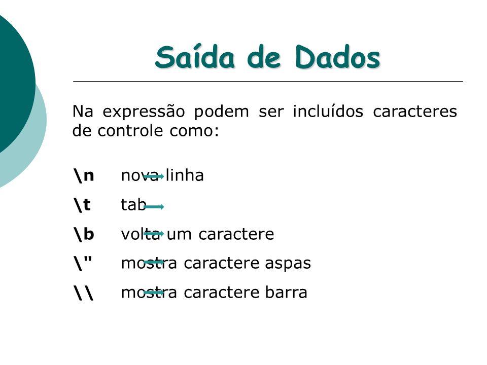 Saída de Dados Na expressão podem ser incluídos caracteres de controle como: \n nova linha \t tab \b volta um caractere \