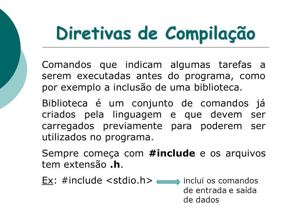 Diretivas de Compilação Comandos que indicam algumas tarefas a serem executadas antes do programa, como por exemplo a inclusão de uma biblioteca. Bibl