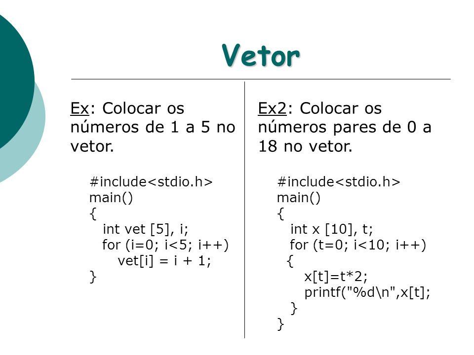 Vetor Ex: Colocar os números de 1 a 5 no vetor. #include main() { int vet [5], i; for (i=0; i<5; i++) vet[i] = i + 1; } Ex2: Colocar os números pares