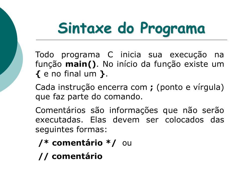 Sintaxe do Programa Todo programa C inicia sua execução na função main(). No início da função existe um { e no final um }. Cada instrução encerra com