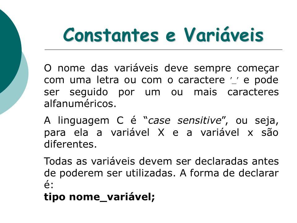 Constantes e Variáveis O nome das variáveis deve sempre começar com uma letra ou com o caractere _ e pode ser seguido por um ou mais caracteres alfanu