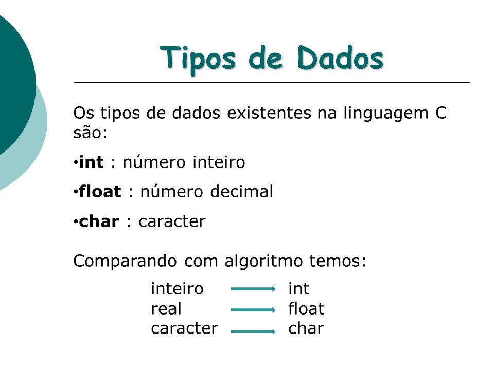 Tipos de Dados Os tipos de dados existentes na linguagem C são: int : número inteiro float : número decimal char : caracter Comparando com algoritmo t