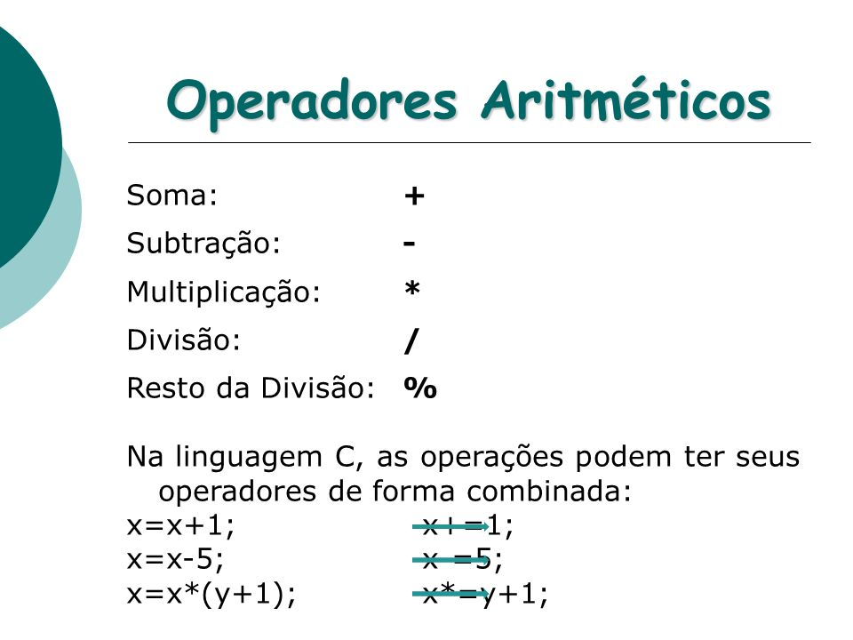 Operadores Aritméticos Soma: + Subtração: - Multiplicação: * Divisão: / Resto da Divisão: % Na linguagem C, as operações podem ter seus operadores de