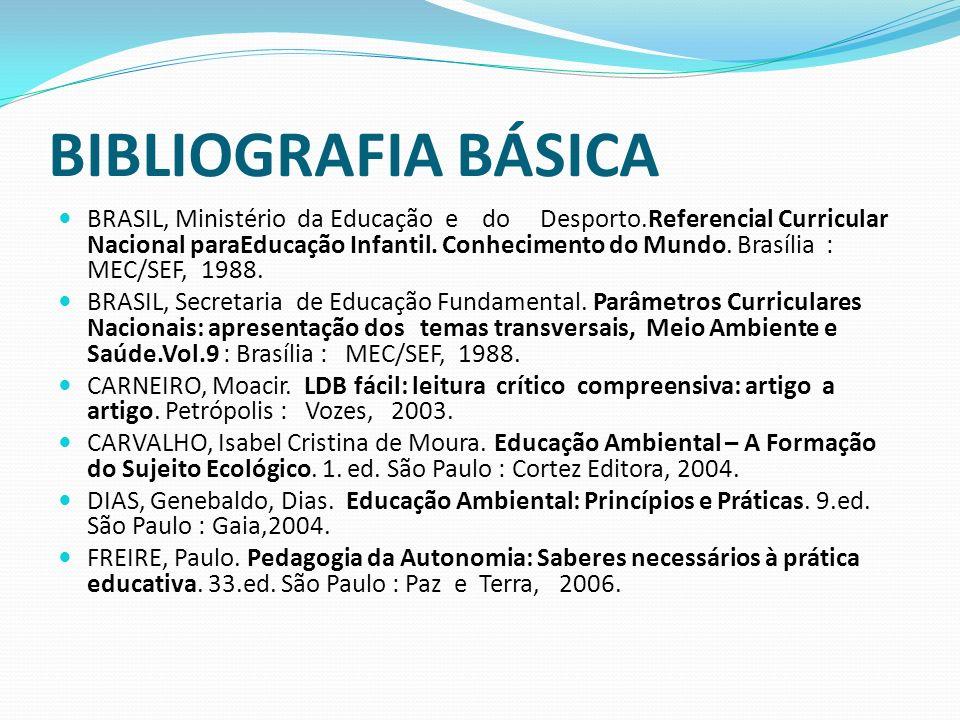 BIBLIOGRAFIA BÁSICA BRASIL, Ministério da Educação e do Desporto.Referencial Curricular Nacional paraEducação Infantil. Conhecimento do Mundo. Brasíli