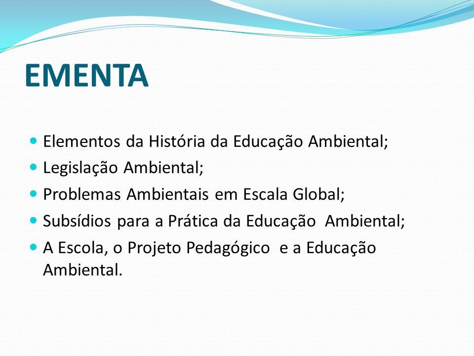 Elementos da História da Educação Ambiental; Legislação Ambiental; Problemas Ambientais em Escala Global; Subsídios para a Prática da Educação Ambient
