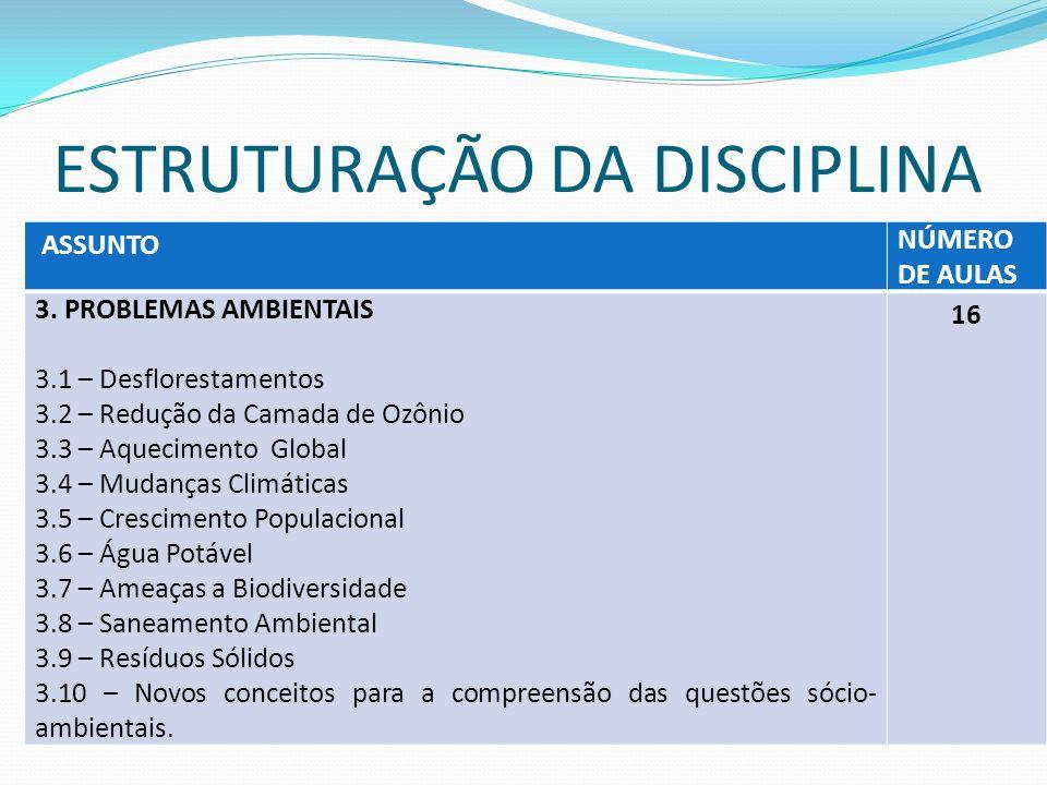 ESTRUTURAÇÃO DA DISCIPLINA ASSUNTO NÚMERO DE AULAS 4.