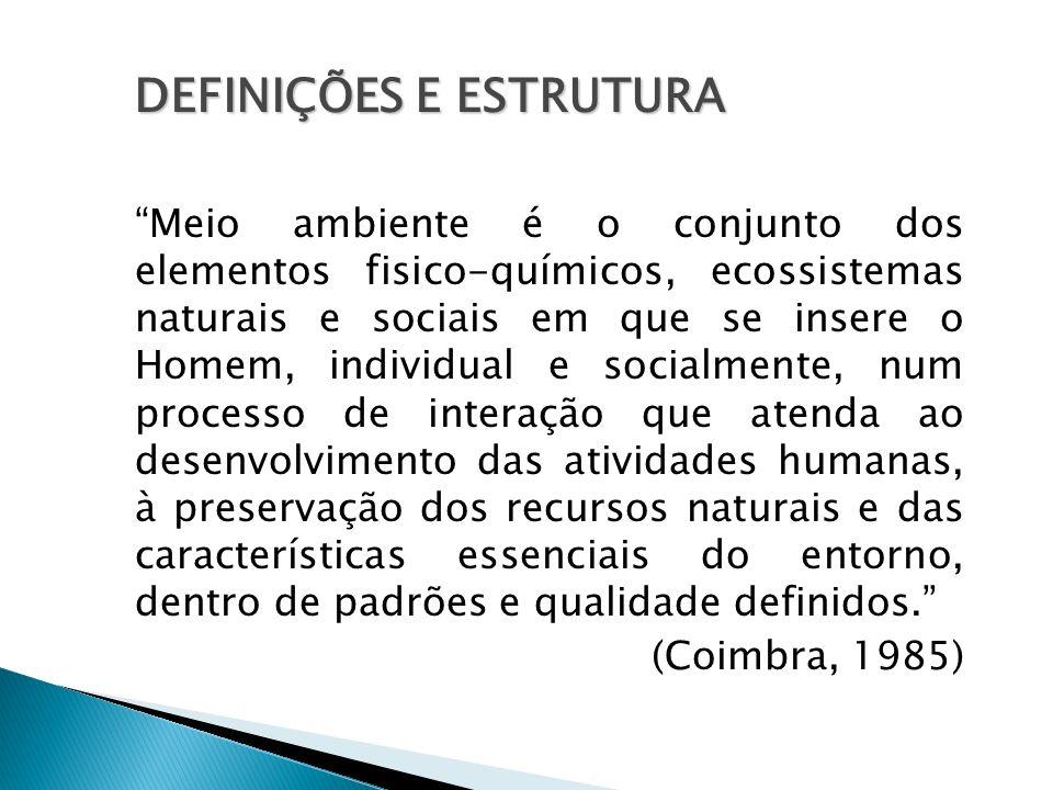 DEFINIÇÕES E ESTRUTURA Meio ambiente é o conjunto dos elementos fisico-químicos, ecossistemas naturais e sociais em que se insere o Homem, individual