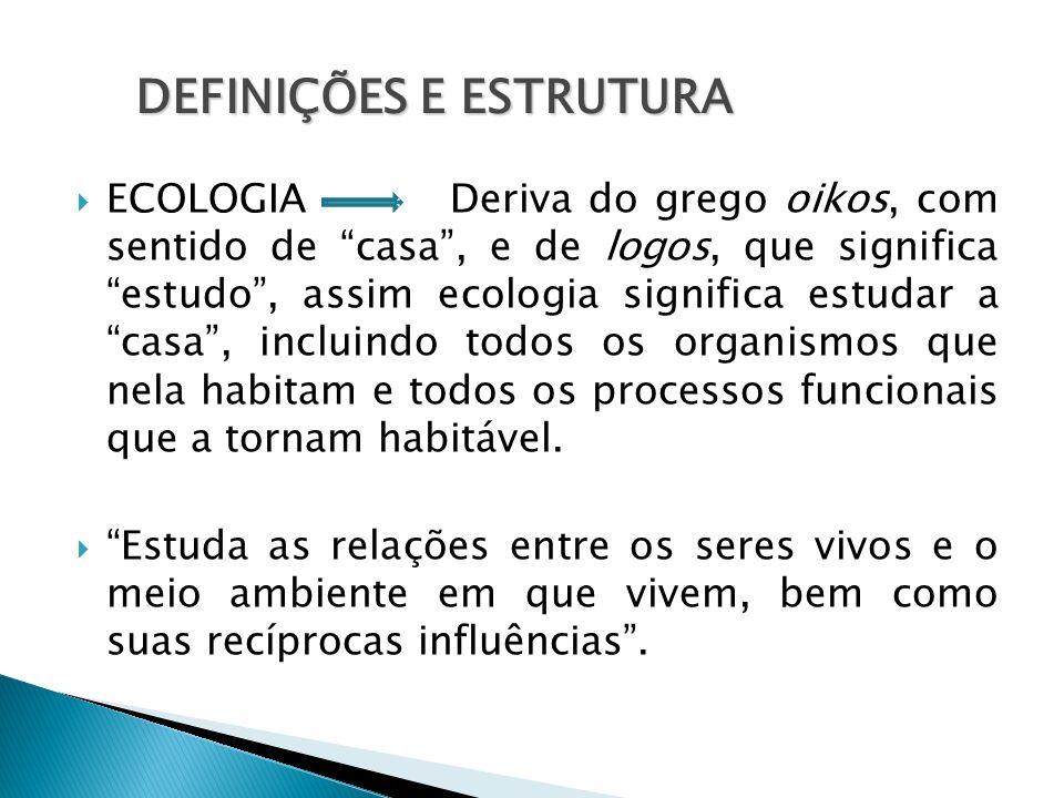ECOLOGIA Deriva do grego oikos, com sentido de casa, e de logos, que significa estudo, assim ecologia significa estudar a casa, incluindo todos os org