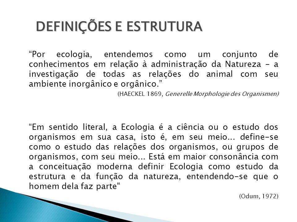Por ecologia, entendemos como um conjunto de conhecimentos em relação à administração da Natureza - a investigação de todas as relações do animal com