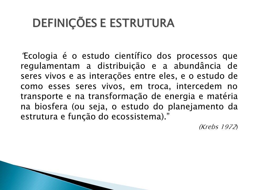 Ecologia é o estudo científico dos processos que regulamentam a distribuição e a abundância de seres vivos e as interações entre eles, e o estudo de c