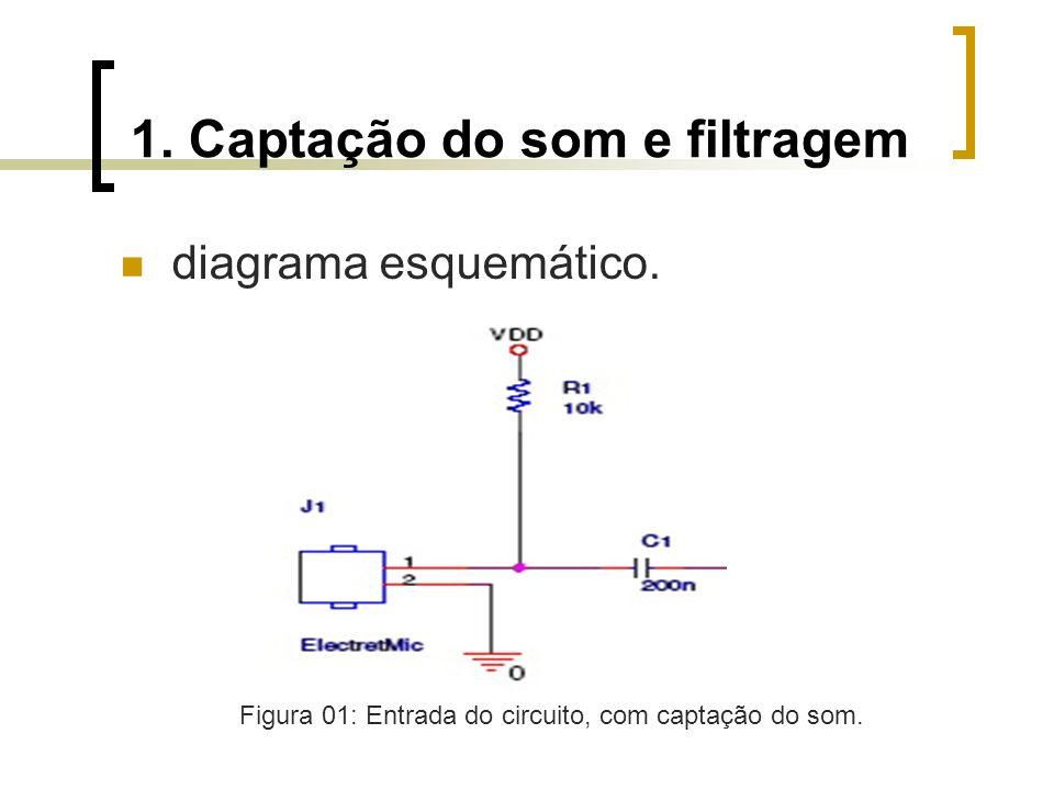 1. Captação do som e filtragem diagrama esquemático. Figura 01: Entrada do circuito, com captação do som.