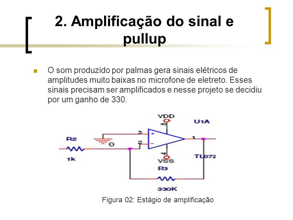 2. Amplificação do sinal e pullup O som produzido por palmas gera sinais elétricos de amplitudes muito baixas no microfone de eletreto. Esses sinais p