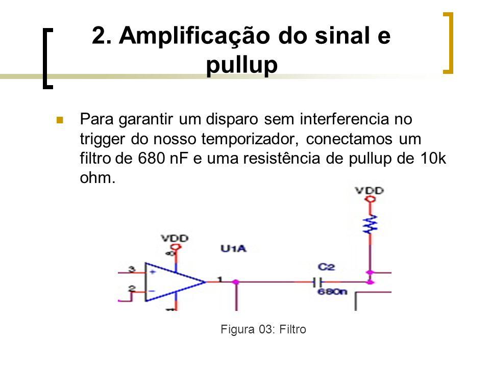 2. Amplificação do sinal e pullup Para garantir um disparo sem interferencia no trigger do nosso temporizador, conectamos um filtro de 680 nF e uma re