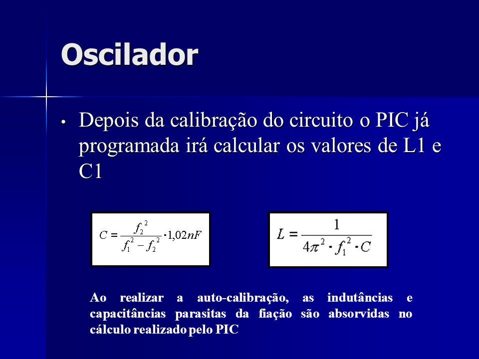 Oscilador Depois da calibração do circuito o PIC já programada irá calcular os valores de L1 e C1 Depois da calibração do circuito o PIC já programada