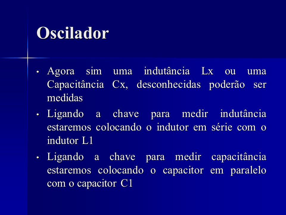 Oscilador Agora sim uma indutância Lx ou uma Capacitância Cx, desconhecidas poderão ser medidas Agora sim uma indutância Lx ou uma Capacitância Cx, de
