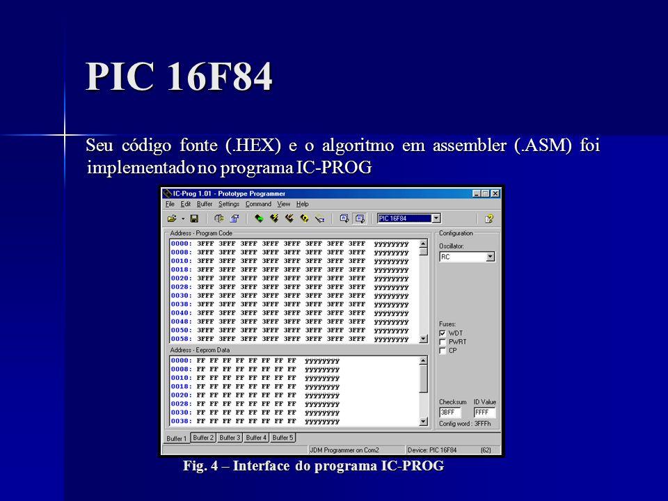 PIC 16F84 Seu código fonte (.HEX) e o algoritmo em assembler (.ASM) foi implementado no programa IC-PROG Seu código fonte (.HEX) e o algoritmo em asse