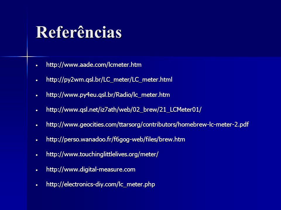 Referências http://www.aade.com/lcmeter.htm http://www.aade.com/lcmeter.htm http://py2wm.qsl.br/LC_meter/LC_meter.html http://py2wm.qsl.br/LC_meter/LC