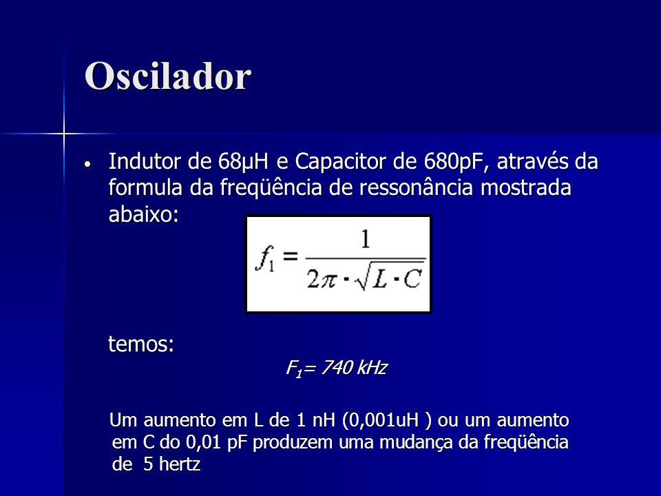 Oscilador Indutor de 68μH e Capacitor de 680pF, através da formula da freqüência de ressonância mostrada abaixo: Indutor de 68μH e Capacitor de 680pF,