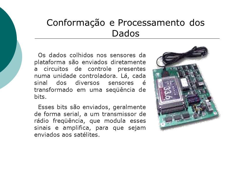 Conformação e Processamento dos Dados Os dados colhidos nos sensores da plataforma são enviados diretamente a circuitos de controle presentes numa uni