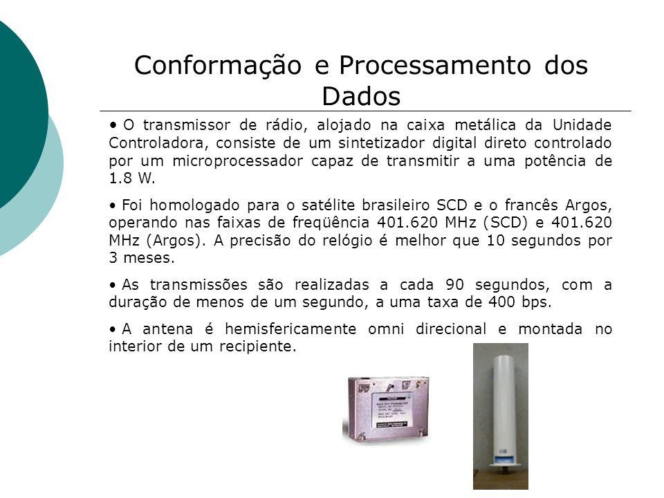 Conformação e Processamento dos Dados O transmissor de rádio, alojado na caixa metálica da Unidade Controladora, consiste de um sintetizador digital d
