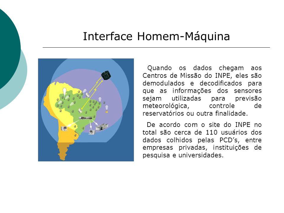 Interface Homem-Máquina Quando os dados chegam aos Centros de Missão do INPE, eles são demodulados e decodificados para que as informações dos sensore