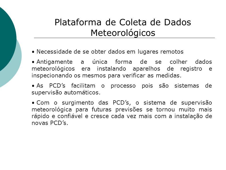 Plataforma de Coleta de Dados Meteorológicos Necessidade de se obter dados em lugares remotos Antigamente a única forma de se colher dados meteorológi