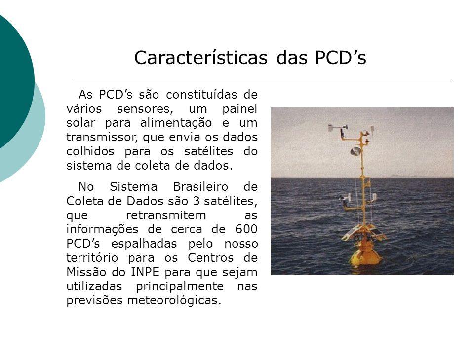Características das PCDs As PCDs são constituídas de vários sensores, um painel solar para alimentação e um transmissor, que envia os dados colhidos p