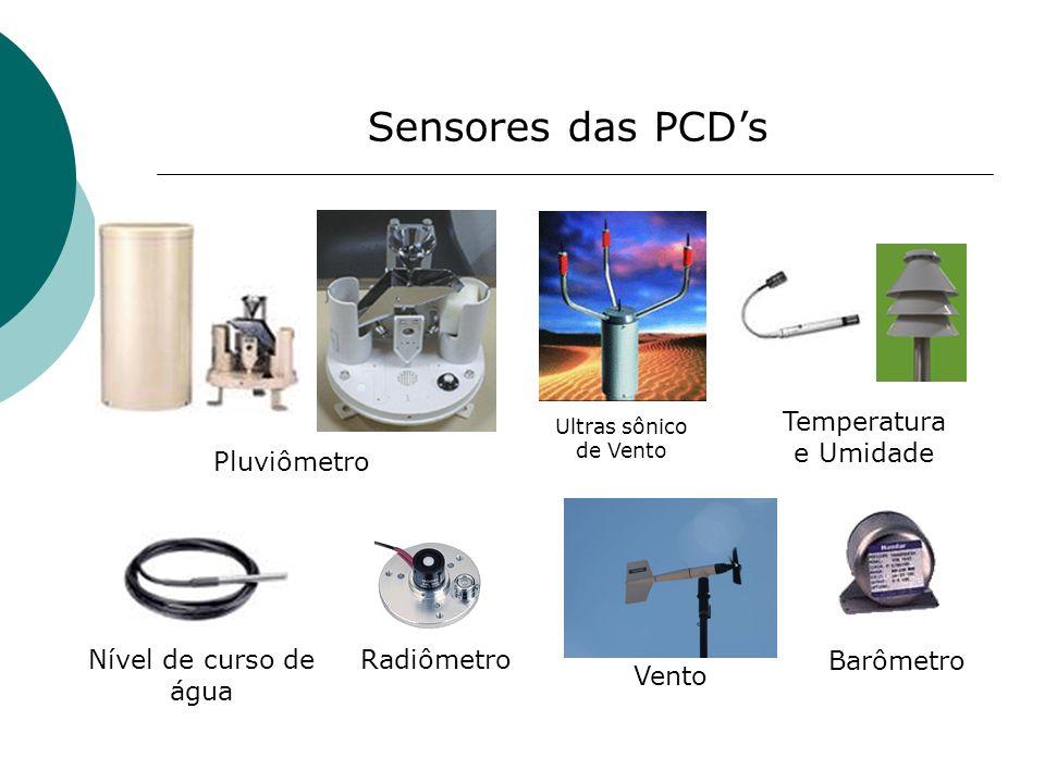 Sensores das PCDs Pluviômetro Ultras sônico de Vento Temperatura e Umidade Nível de curso de água Radiômetro Barômetro Vento