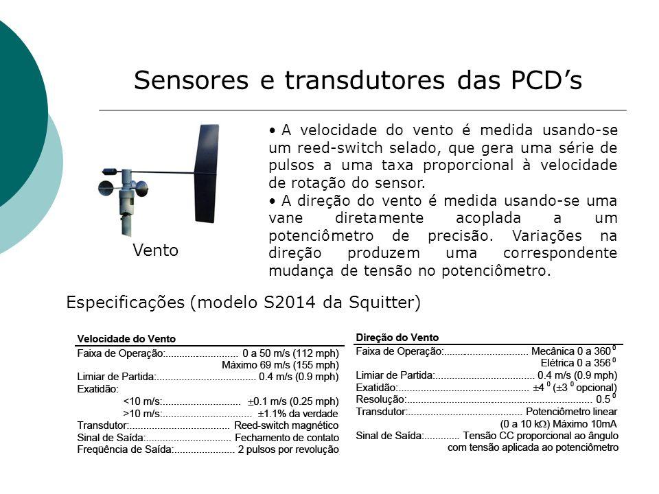 Sensores e transdutores das PCDs Vento A velocidade do vento é medida usando-se um reed-switch selado, que gera uma série de pulsos a uma taxa proporc