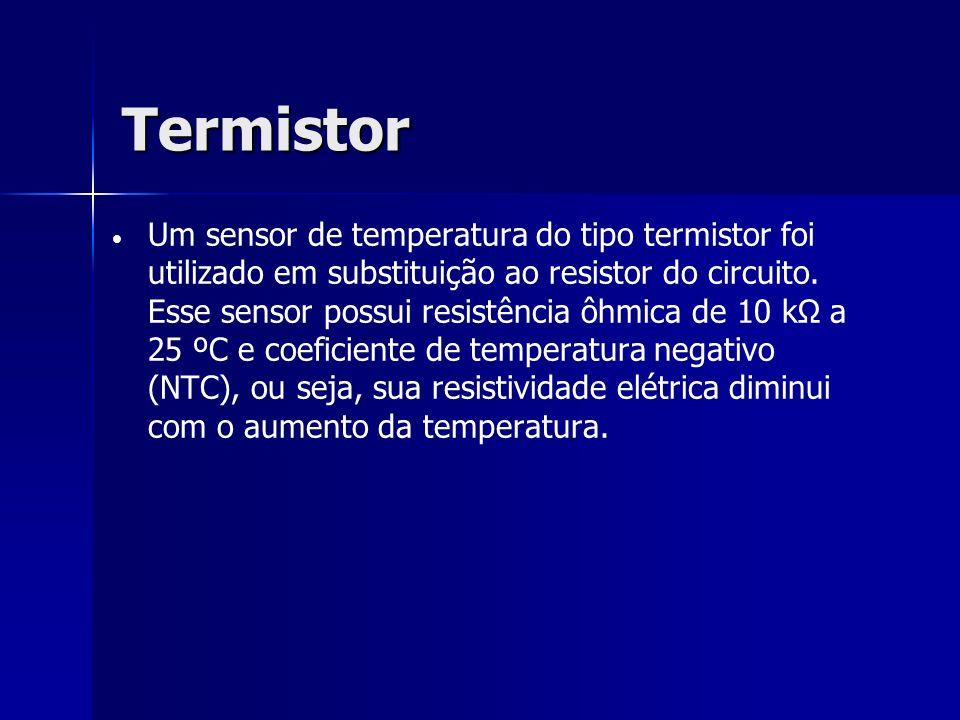 Termistor Um sensor de temperatura do tipo termistor foi utilizado em substituição ao resistor do circuito. Esse sensor possui resistência ôhmica de 1