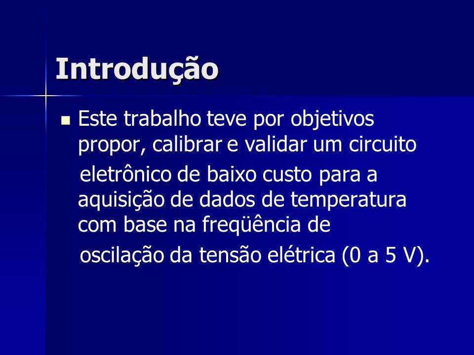 Introdução Este trabalho teve por objetivos propor, calibrar e validar um circuito eletrônico de baixo custo para a aquisição de dados de temperatura