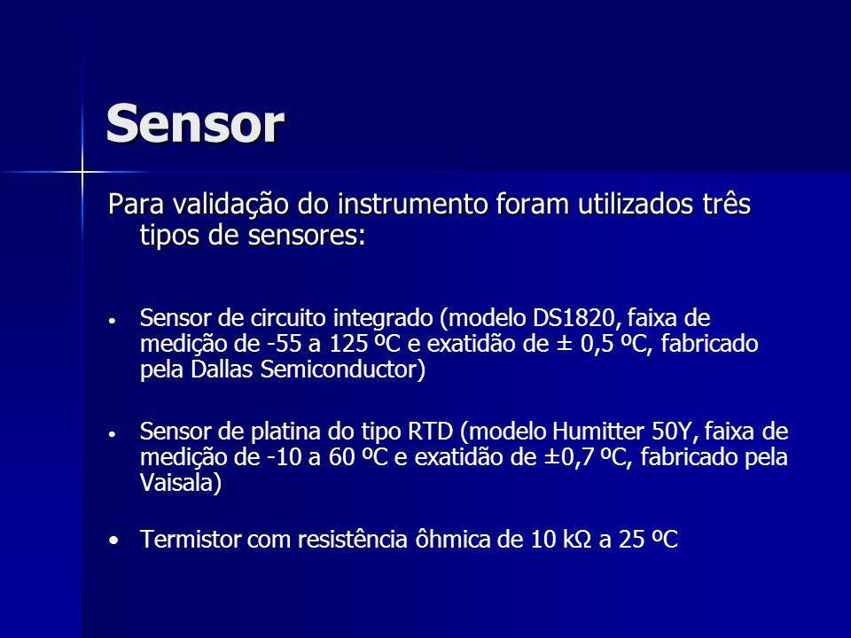 Sensor Para validação do instrumento foram utilizados três tipos de sensores: Sensor de circuito integrado (modelo DS1820, faixa de medição de -55 a 1