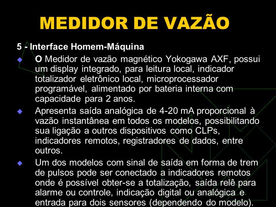 MEDIDOR DE VAZÃO 5 - Interface Homem-Máquina O Medidor de vazão magnético Yokogawa AXF, possui um display integrado, para leitura local, indicador tot