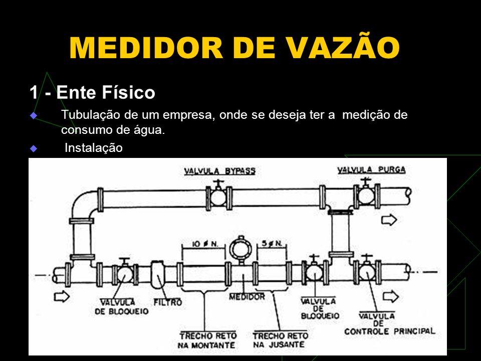 MEDIDOR DE VAZÃO 1 - Ente Físico Tubulação de um empresa, onde se deseja ter a medição de consumo de água. Instalação