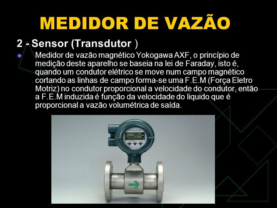 MEDIDOR DE VAZÃO 2 - Sensor (Transdutor ) Medidor de vazão magnético Yokogawa AXF, o princípio de medição deste aparelho se baseia na lei de Faraday,