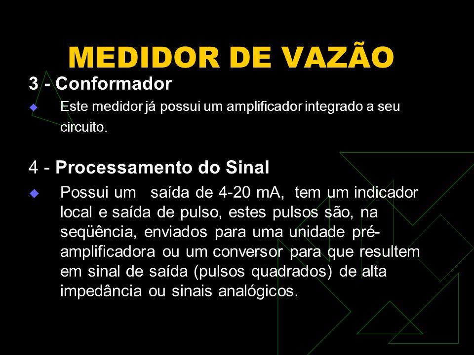 MEDIDOR DE VAZÃO 3 - Conformador Este medidor já possui um amplificador integrado a seu circuito. 4 - Processamento do Sinal Possui um saída de 4-20 m