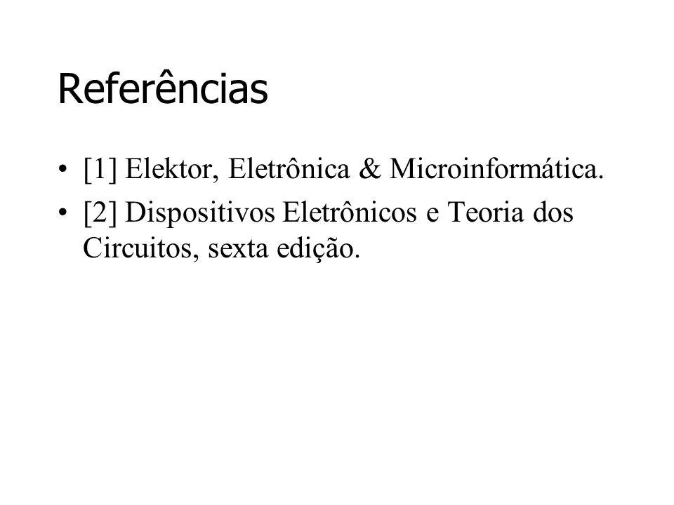 Referências [1] Elektor, Eletrônica & Microinformática. [2] Dispositivos Eletrônicos e Teoria dos Circuitos, sexta edição.