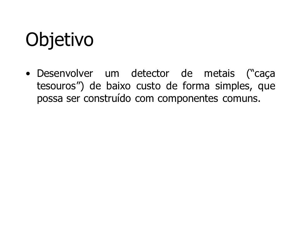 Objetivo Desenvolver um detector de metais (caça tesouros) de baixo custo de forma simples, que possa ser construído com componentes comuns.